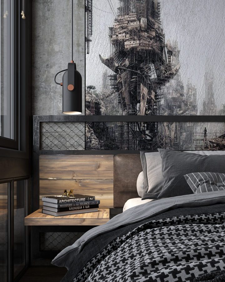 grey black and wood bedroom idea for men