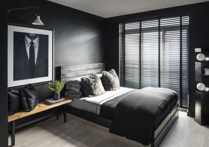 Dark bedroom idea for men with black wall