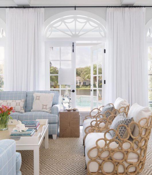 glamorous contemporary coastal living room
