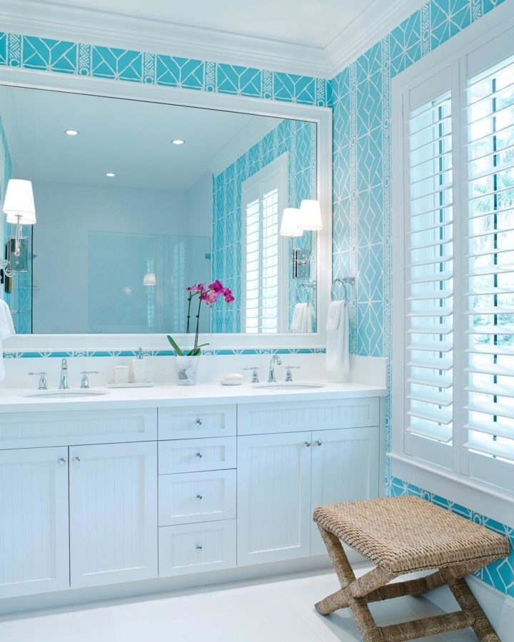 white and light blue bathroom vanity for coastal modern decor