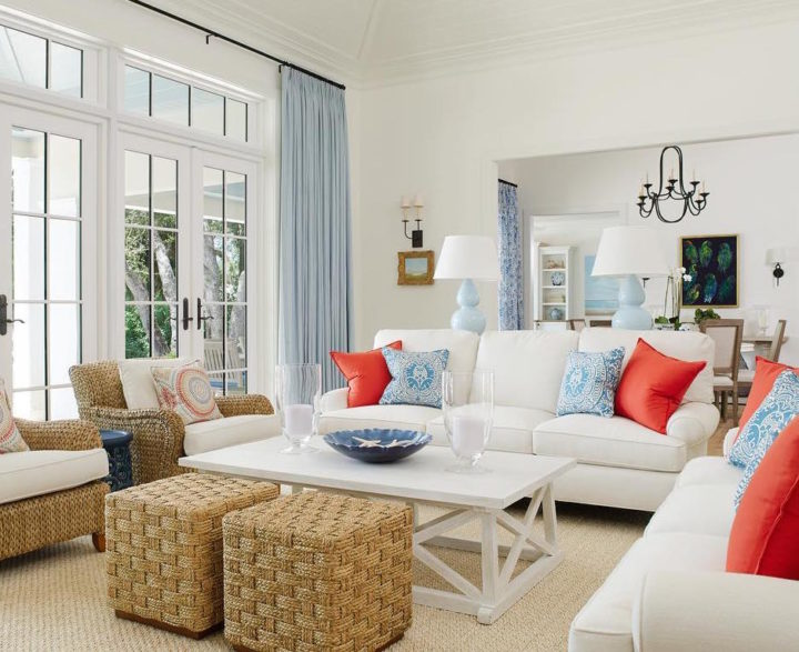 white sofas and pillows in different colors
