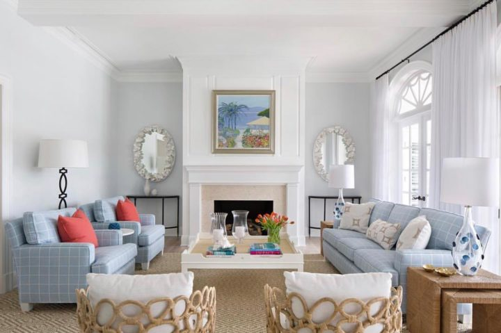 white walls and light blue sofas
