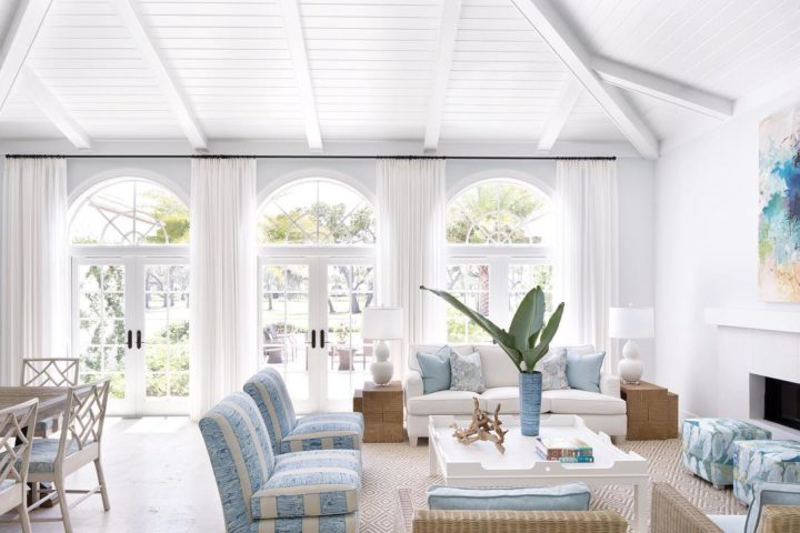 white and light blue contemporary coastal living room