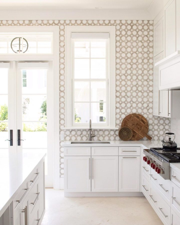 petterned tiles in the kitchen as part of coastal modern home