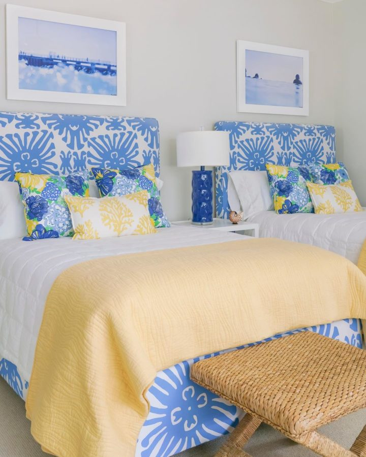 light blue and yellow elements in bedroom