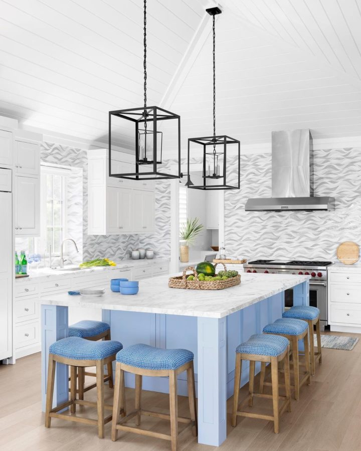 white kitchen with black pendant light plans