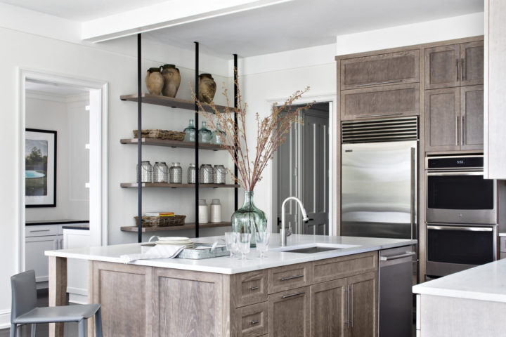 coastal modern kitchen with wooden cabinetry