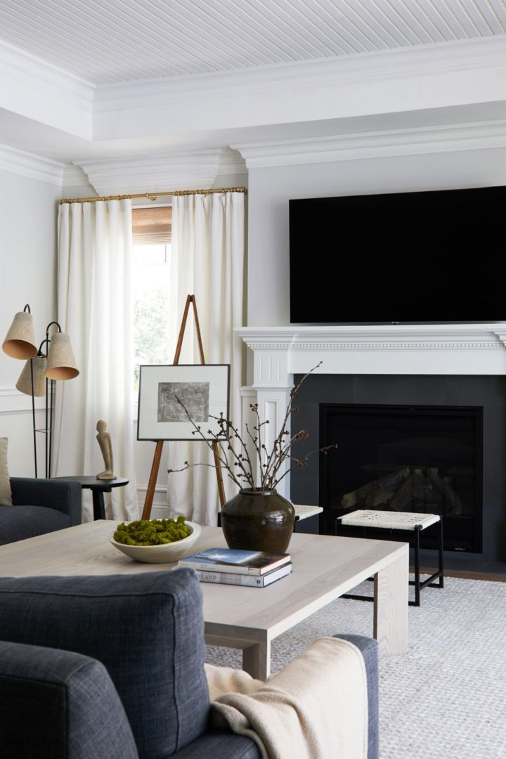 black and white fireplace