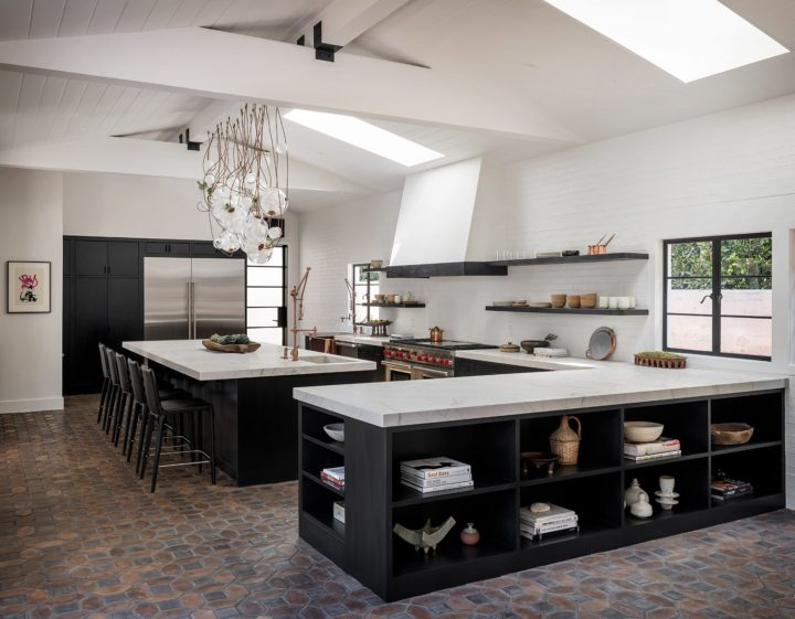 kitchen with island, open shelves and storage space