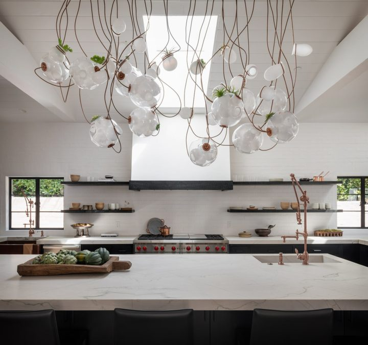 unique decorative lighting above kitchen island