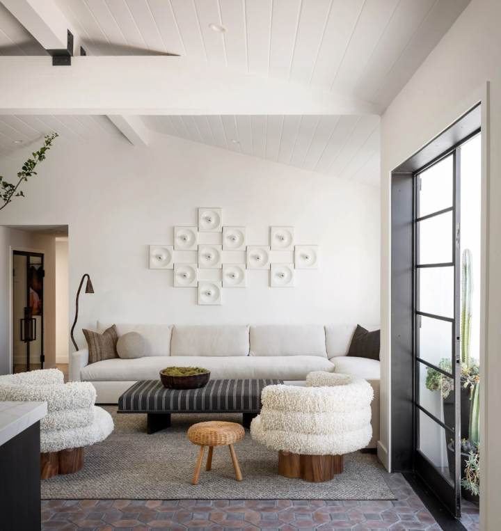white walls and modern armchairs
