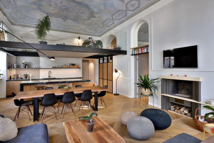 Italian contemporary apartment with beanbag seats