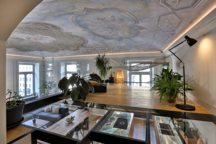Italian contemporary apartment interior with paintings on the ceiling