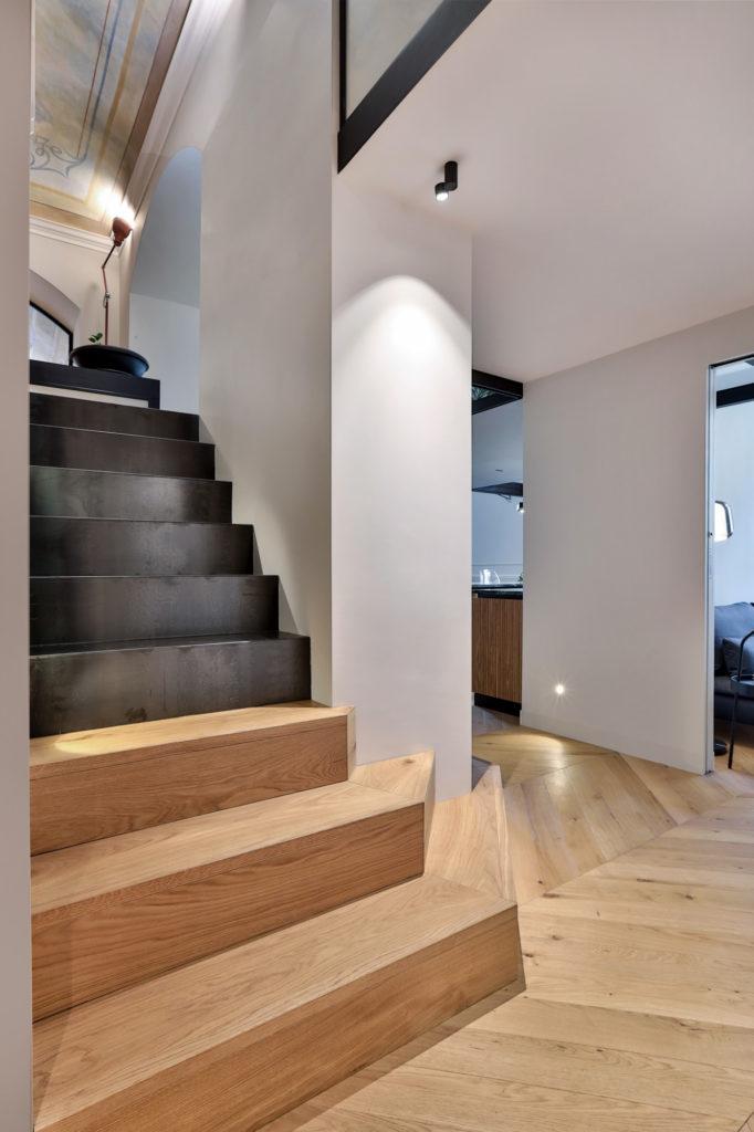 Italian contemporary apartment interior design with stairs