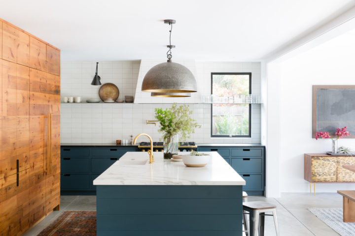 kitchen with island with marble surface