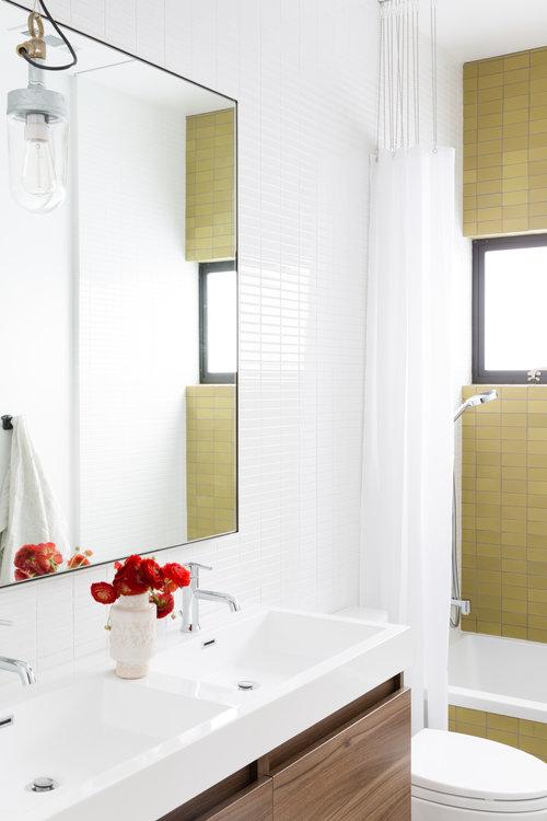 revival of interior bathroom with huge mirror