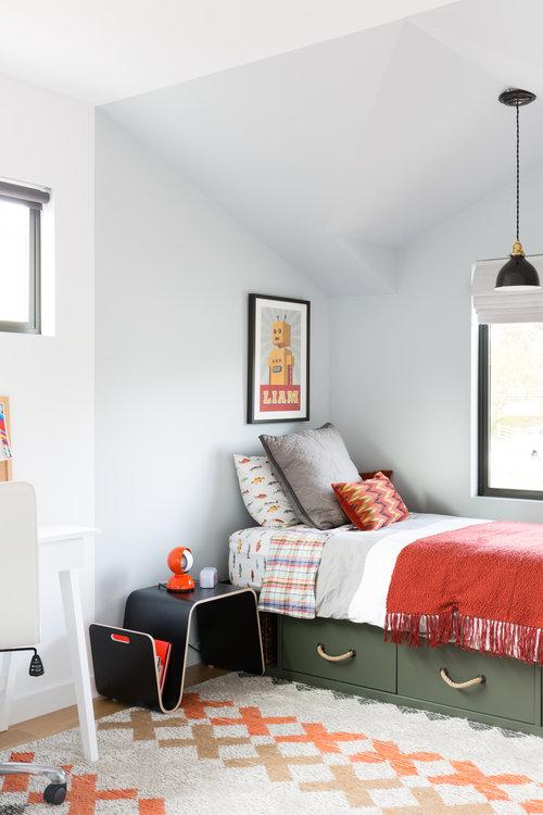 orange details in bedroom