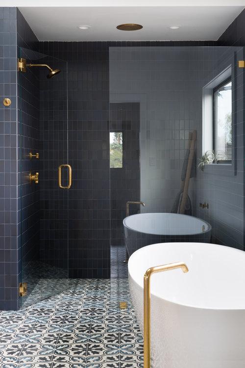 dark grey tiles in bathroom as revival of an interior