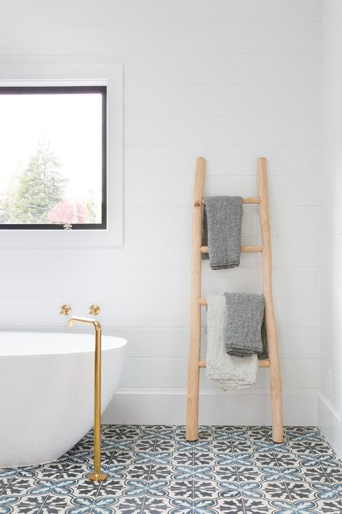 wooden ladder for towel hanging in bathroom