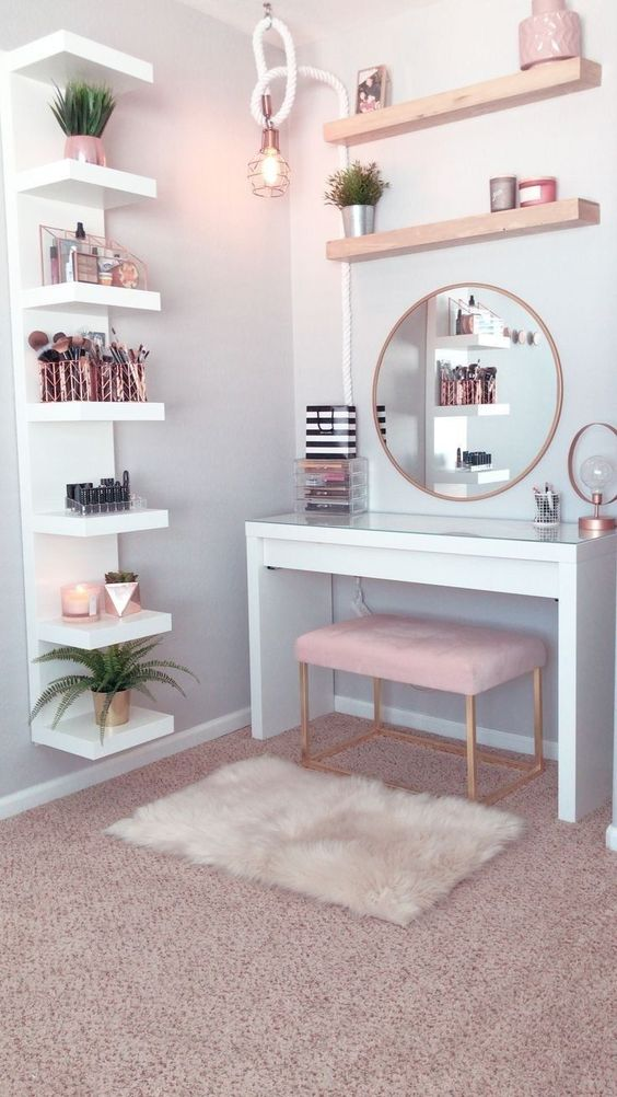 open shelves bedroom with round mirros and some makeup tools