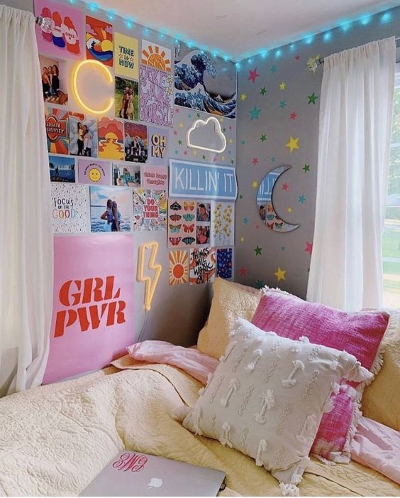 posters on the wall for a girl's room