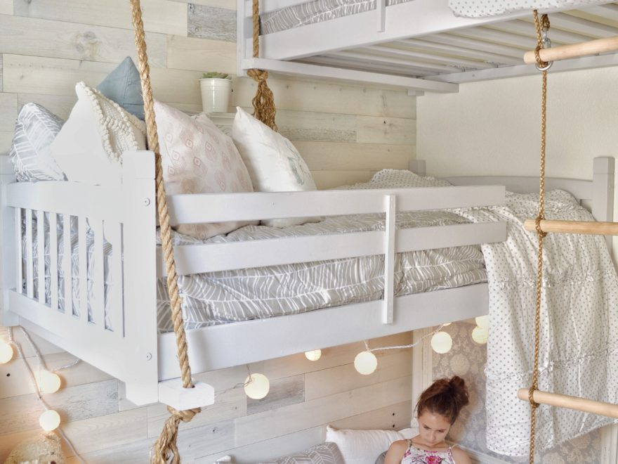 girls room decor with loft bed