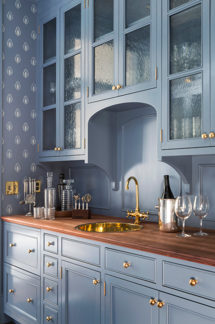 blue with gold cabinetry