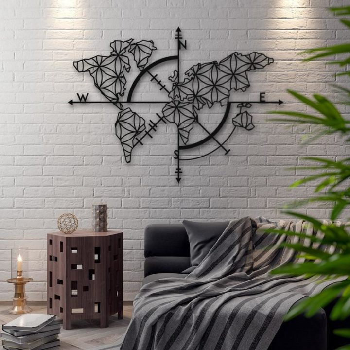 contemporary Metal World Map wall decor
