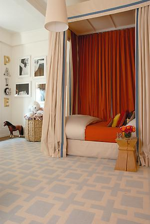 orange and beige curtains in bedroom