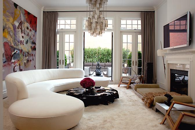 wall window in living roomwith modern white sofa