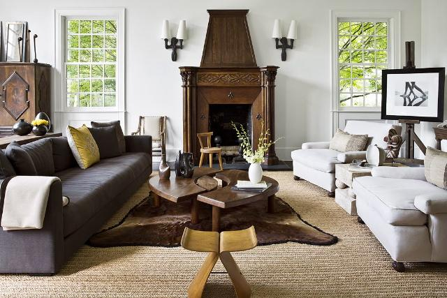 brown fireplace and dark brown furniture