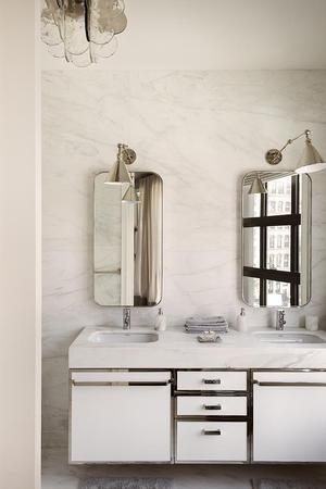 eclectic interior with bathroom vanity
