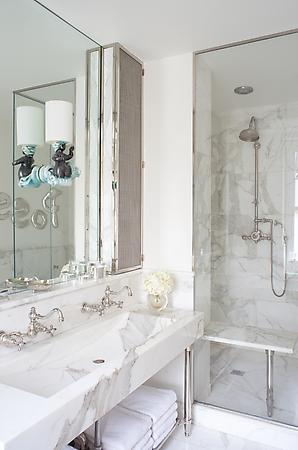 white bathroom with marble