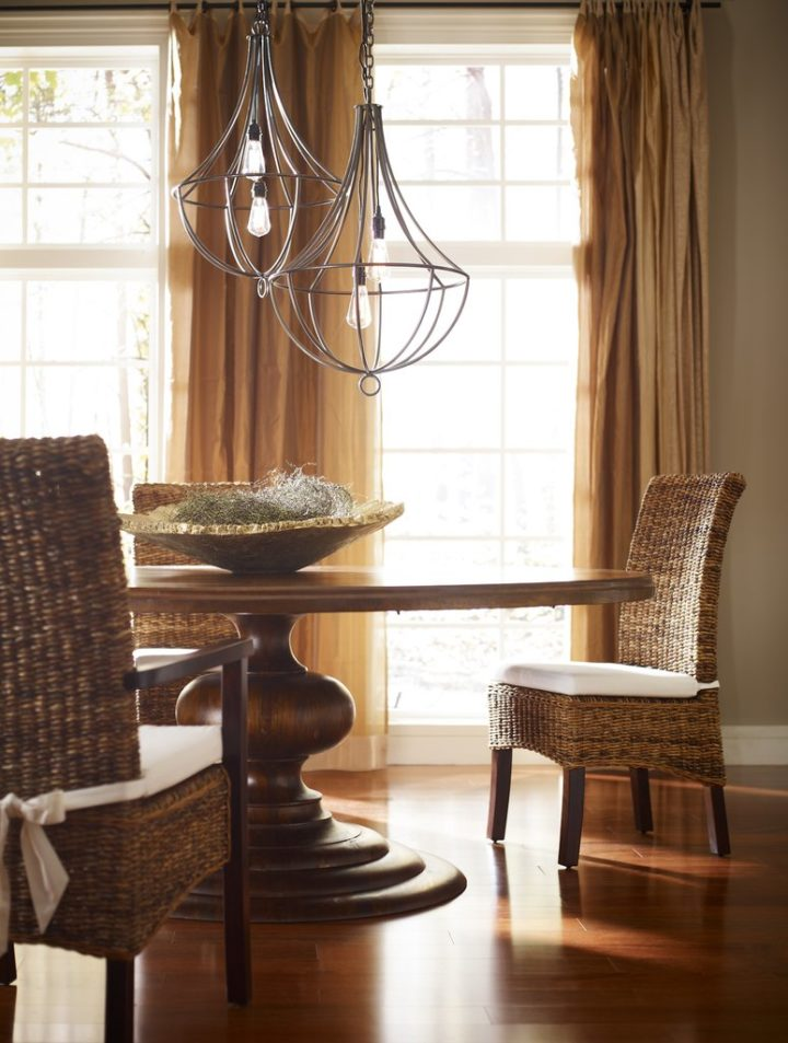 wood dining room table and dining chairs
