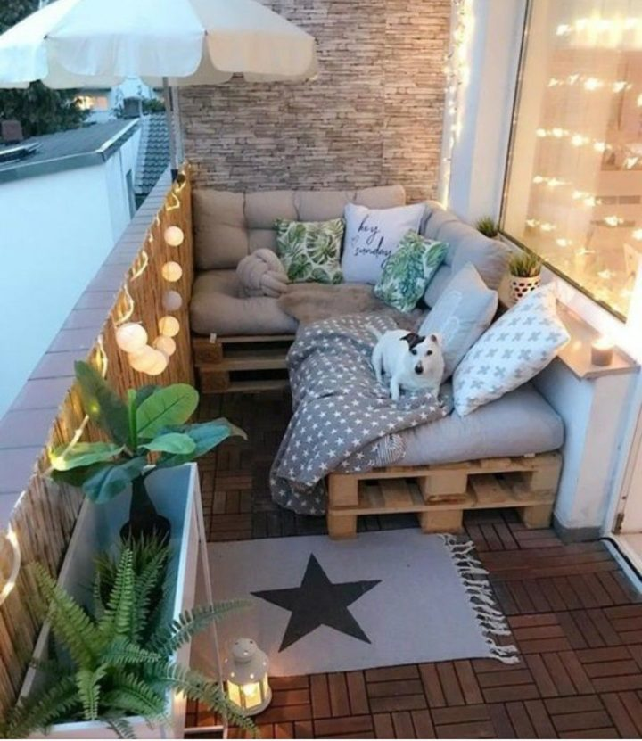 cozy outdoor sitting place with a dog