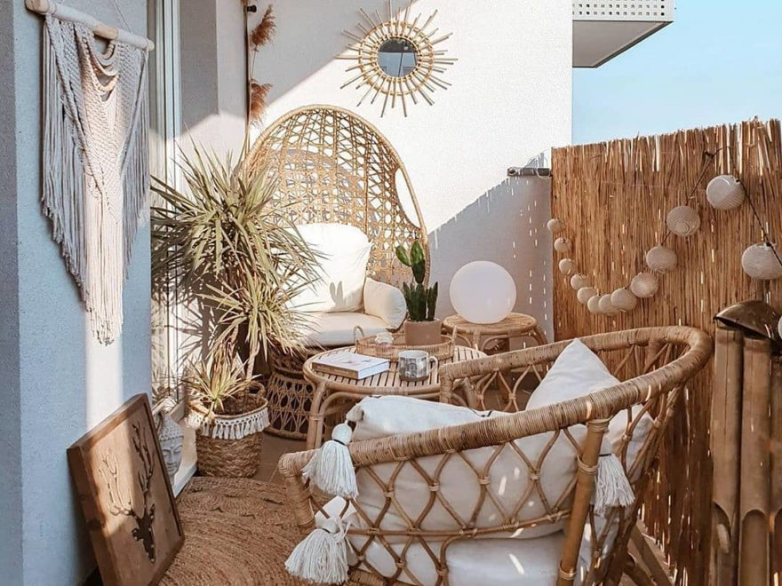 small boho balcony with rattan furniture