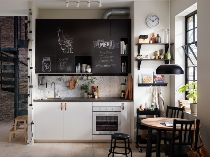 small black and white kitchen with Chalkboard to match your taste