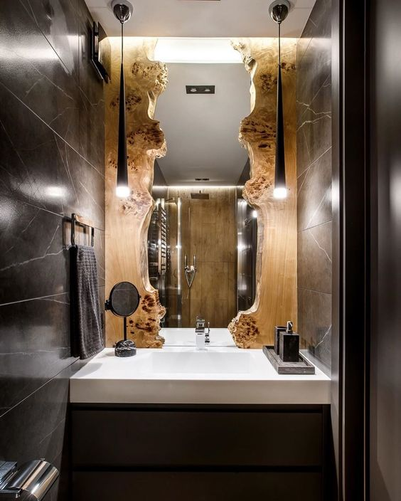 different reclaimed wood bathroom mirror design idea
