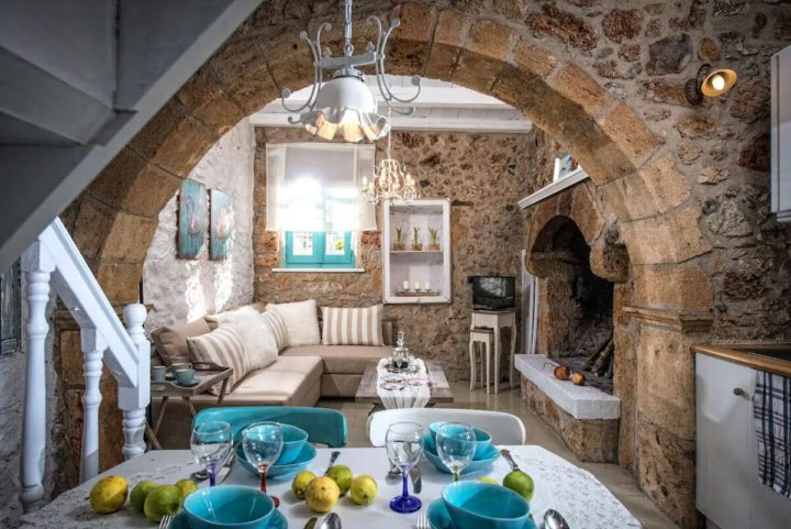 inside a mediterranean house with bricks