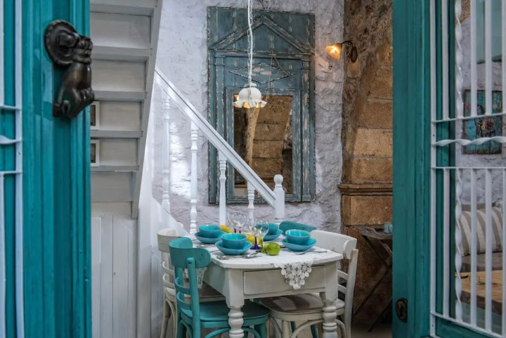 teal  blue and white for greek style house