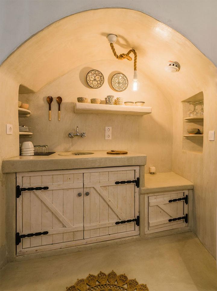 greek island traditional kitchenette