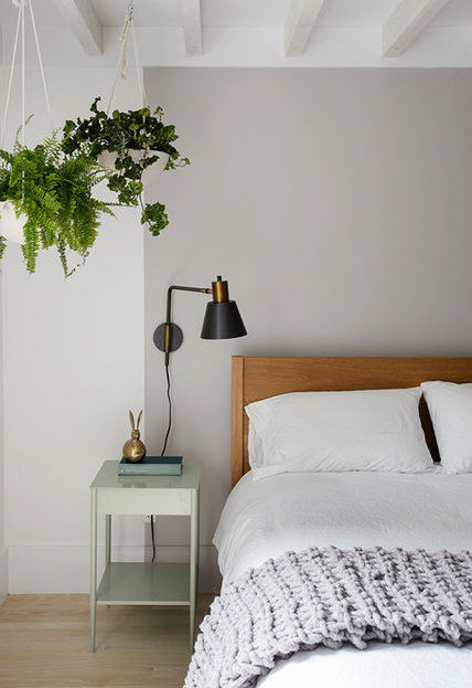Scandinavian inspired grey with white bedroom idea