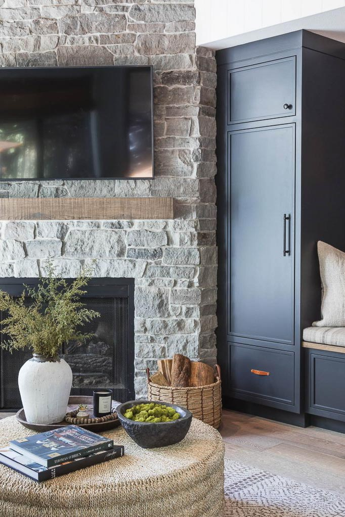 stone fireplace bench