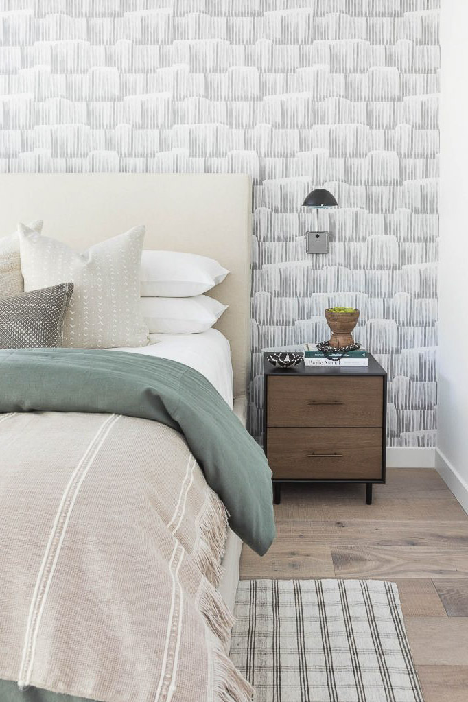 modern simple grey white bedroom wallpaper idea
