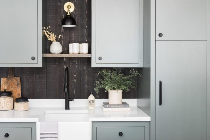grey blue kitchenette