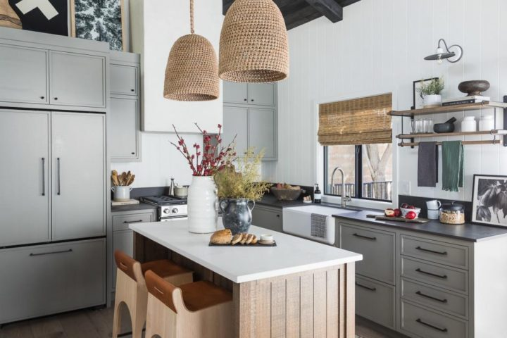 modern country grey kitchen with small island with 2 wood tools 4