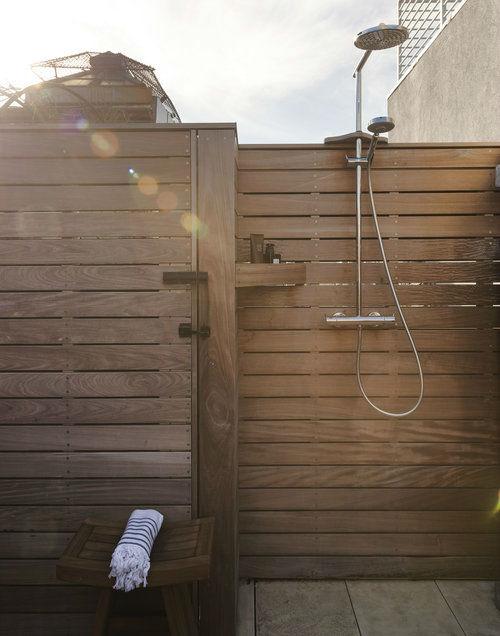 wood modern outdoor shower