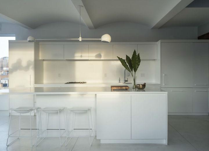 all white minimalist kitchen design