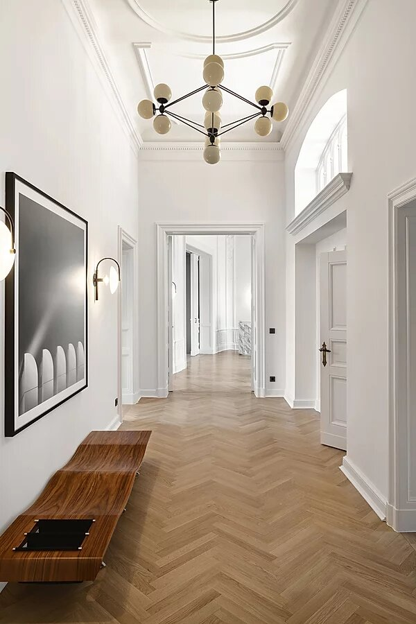 hallway with parquet flooting