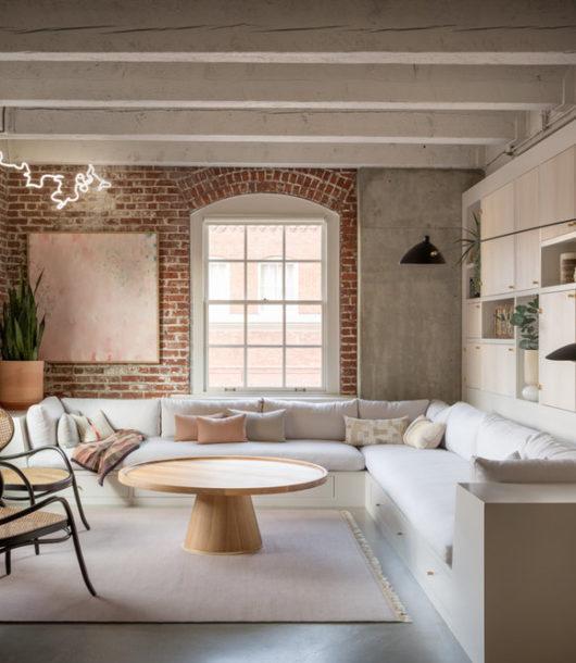 modern fresh happy living room with brick wall pearl loft